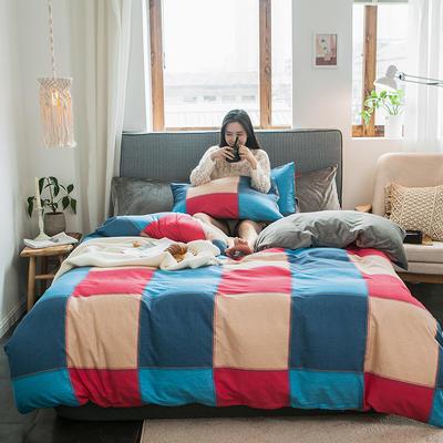秋冬绒-13372棉绒四件套系列 床单款四件套1.5m(5英尺)床 绒-罗马