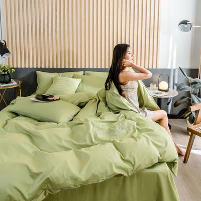 2019新款-全棉40贡缎刺绣四件套系列 床单款三件套1.2m(4英尺)床 H果绿