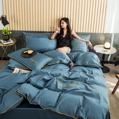 全棉贡缎刺绣四件套系列 床单款三件套1.2m(4英尺)床 H皇家兰