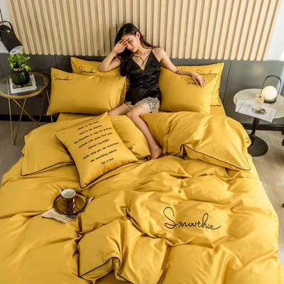 2019新款-全棉40贡缎刺绣四件套系列 床单款三件套1.2m(4英尺)床 H姜黄