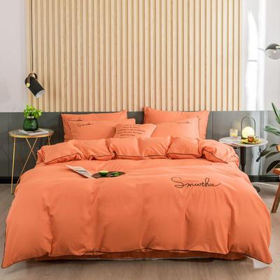 2019新款-全棉40贡缎刺绣四件套系列 床单款三件套1.2m(4英尺)床 H桔色
