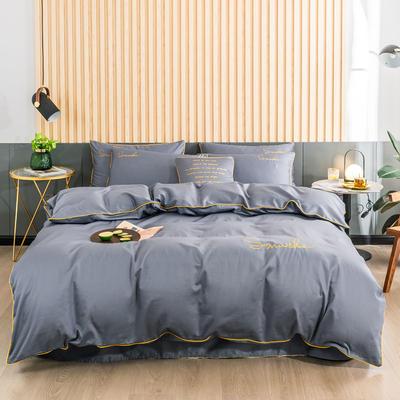 2019新款-全棉40贡缎刺绣四件套系列 床单款三件套1.2m(4英尺)床 H兰灰
