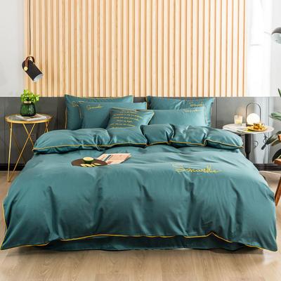 2019新款-全棉40贡缎刺绣四件套系列 床单款三件套1.2m(4英尺)床 H浅石兰