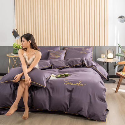 2019新款-全棉40贡缎刺绣四件套系列 床单款三件套1.2m(4英尺)床 H深紫