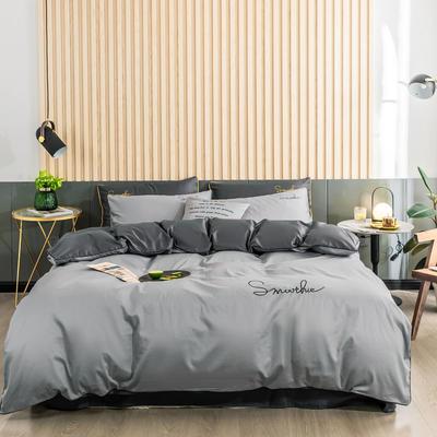 全棉贡缎刺绣四件套系列 床单款三件套1.2m(4英尺)床 H双拼-银高级灰