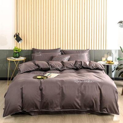2019新款-全棉40贡缎刺绣四件套系列 床单款三件套1.2m(4英尺)床 H紫咖