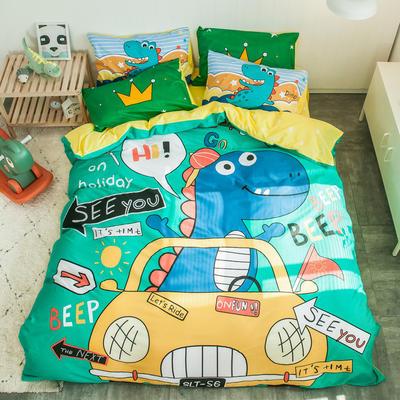 全棉平网系列四件套 床单款1.2m被套160*210 恐龙假日