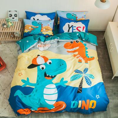 全棉平网系列四件套 床单款1.5m被套180*220 恐龙兄弟