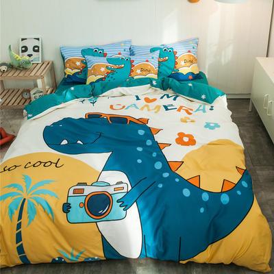 全棉平网系列四件套 床单款1.2m被套160*210 恐龙游记