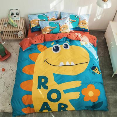 全棉平网系列四件套 床单款1.2m被套160*210 中华恐龙