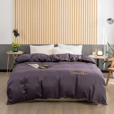 2020新款-全棉40贡缎刺绣-被套 160x210cm H深紫
