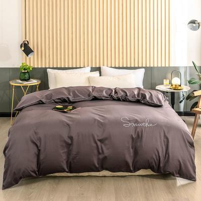 2020新款-全棉40貢緞刺繡-被套 160x210cm H紫咖