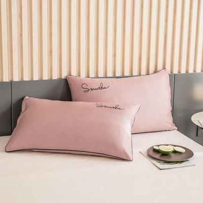 2020新款-全棉40貢緞刺繡-枕套 47cmx74cm一對 H豆沙