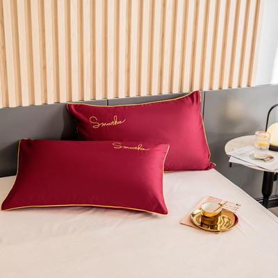 2020新款-全棉40貢緞刺繡-枕套 47cmx74cm一對 H朵紅
