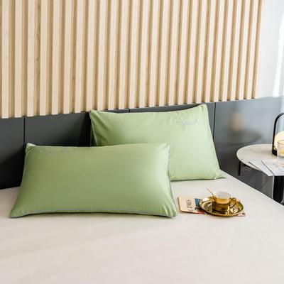 2020新款-全棉40貢緞刺繡-枕套 47cmx74cm一對 H果綠