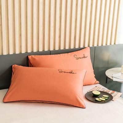 2020新款-全棉40貢緞刺繡-枕套 47cmx74cm一對 H桔色