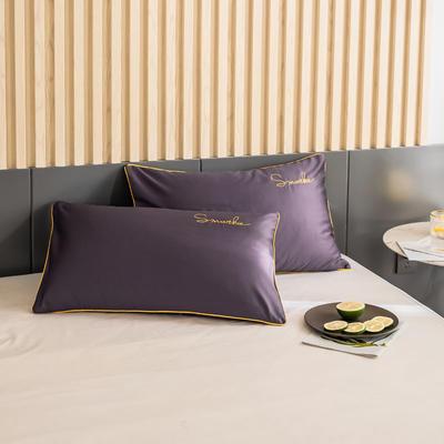 2020新款-全棉40貢緞刺繡-枕套 47cmx74cm一對 H深紫