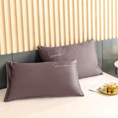 2020新款-全棉40貢緞刺繡-枕套 47cmx74cm一對 H紫咖