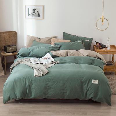 2020新款-全棉纯色织标款四件套 床单款三件套1.2m(4英尺)床 豆绿+卡其