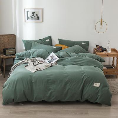 2020新款-全棉纯色织标款四件套 床单款三件套1.2m(4英尺)床 空间绿