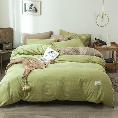 2020新款-全棉纯色织标款四件套 床单款三件套1.2m(4英尺)床 牛油果绿+卡其