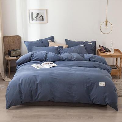 2020新款-全棉纯色织标款四件套 床单款三件套1.2m(4英尺)床 牛仔兰