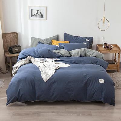 2020新款-全棉纯色织标款四件套 床单款三件套1.2m(4英尺)床 牛仔兰+浅灰