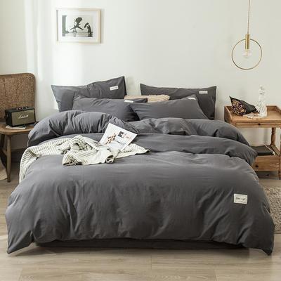 2020新款-全棉纯色织标款四件套 床单款三件套1.2m(4英尺)床 倾城灰