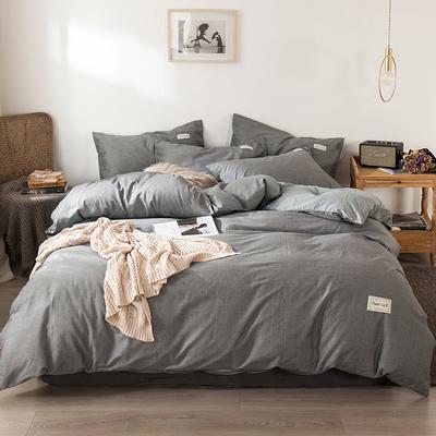 2020新款-全棉纯色织标款四件套 床单款三件套1.2m(4英尺)床 绅士灰