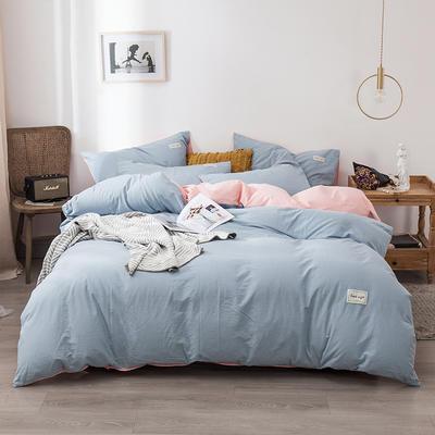 2020新款-全棉纯色织标款四件套 床单款三件套1.2m(4英尺)床 天兰+樱花粉