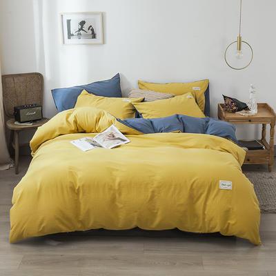 2020新款-全棉纯色织标款四件套 床单款三件套1.2m(4英尺)床 杏黄+牛仔兰