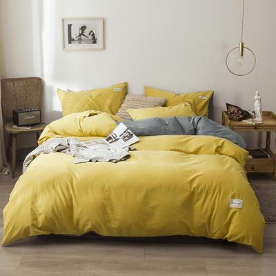 2020新款-全棉纯色织标款四件套 床单款三件套1.2m(4英尺)床 杏黄+浅灰