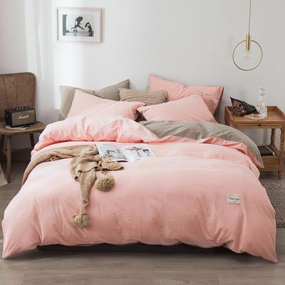 2020新款-全棉纯色织标款四件套 床单款三件套1.2m(4英尺)床 樱花粉+卡其