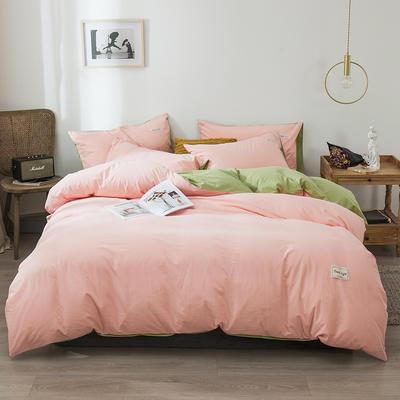 2020新款-全棉纯色织标款四件套 床单款三件套1.2m(4英尺)床 樱花粉+绿