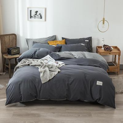 2020新款-全棉纯色织标款四件套 床单款三件套1.2m(4英尺)床 中灰+浅灰