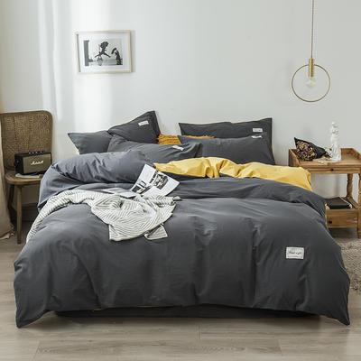 2020新款-全棉纯色织标款四件套 床单款三件套1.2m(4英尺)床 中灰+杏黄