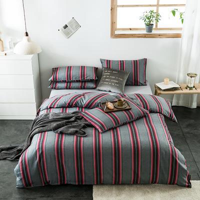2020新款-全棉英伦风四件套 床单款三件套1.2m(4英尺)床 古巴