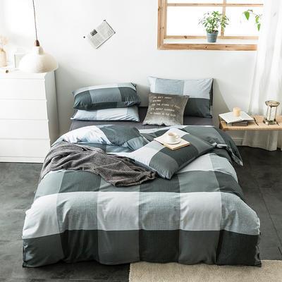 2020新款-全棉英伦风四件套 床单款三件套1.2m(4英尺)床 图雷-灰