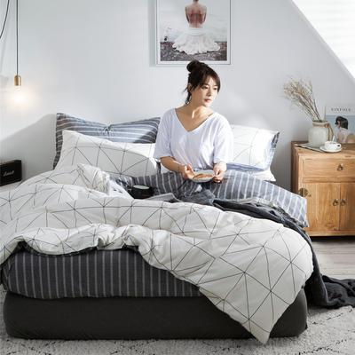 2020新款-全棉简约宜家系列多规格 床单款三件套1.2m(4英尺)床 安可