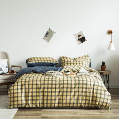 2020新款-全棉简约宜家系列多规格 床单款三件套1.2m(4英尺)床 摩卡-黄