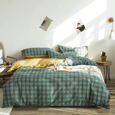 2020新款-全棉简约宜家系列多规格 床单款三件套1.2m(4英尺)床 摩卡-绿