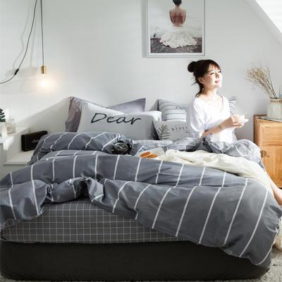 2020新款-全棉简约宜家系列多规格 床单款三件套1.2m(4英尺)床 品味青春