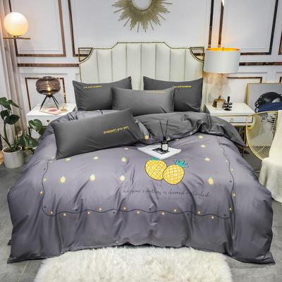 全棉轻奢平网系列四件套 床单款四件套1.8m(6英尺)床 菠萝蜜语