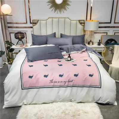 全棉轻奢平网系列四件套 床单款四件套1.8m(6英尺)床 粉色海洋