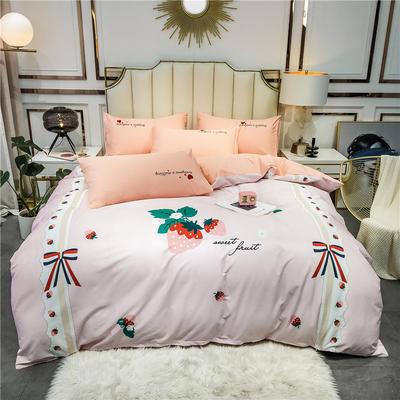 全棉轻奢平网系列四件套 床单款四件套1.8m(6英尺)床 粉色时代