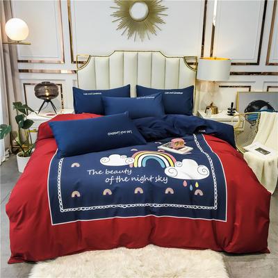 2020新品-全棉轻奢平网系列四件套(1) 床单款三件套1.2m(4英尺)床 夜空