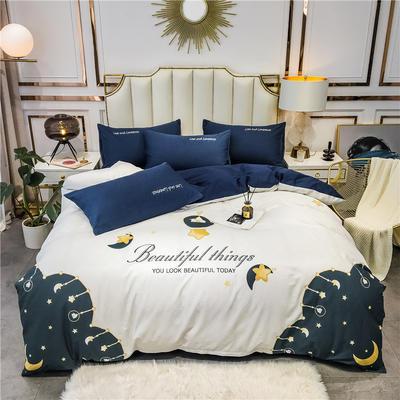 2020新品-全棉轻奢平网系列四件套(1) 床单款三件套1.2m(4英尺)床 月亮湾