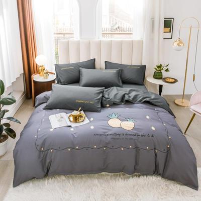 2020新品-全棉轻奢平网系列四件套(2) 床单款三件套1.2m(4英尺)床 菠萝蜜语