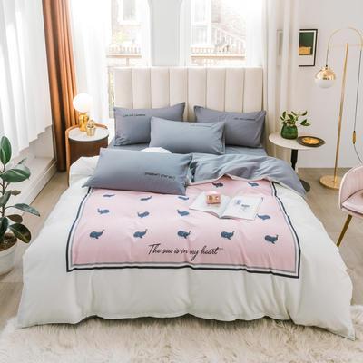 2020新品-全棉轻奢平网系列四件套(2) 床单款三件套1.2m(4英尺)床 粉色海洋