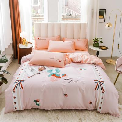 2020新品-全棉轻奢平网系列四件套(2) 床单款三件套1.2m(4英尺)床 粉色时代